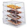 Acrylic Bakery Display Case - Doors In Back, Slant Front, Four Trays