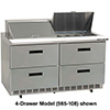 "Drawer Salad, Sandwich Table - Deluxe Front Breathing 6 Drawers, 72""W, 4.0 Cu. Ft."