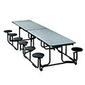 "KI UF126/PY-BN Mobile Cafeteria Table with 12 Stool Seats, 60-1/2""W x 139-1/2""D"