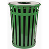 Round Outdoor Waste Container - 36 Gallon, Flat Open Top
