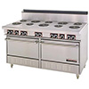 "Commercial Electric Range 60""W, 4 Burners, 2 Ovens, 36"" Griddle"
