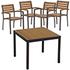 "COMBO KIT - (4) Arm Chairs and 36""x36"" Table in Taupe Natural Teak Finish"