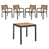 "COMBO KIT - (4) Arm Chairs and 36""x36"" Table with Anthracite Frame and Faux Teak Slats"