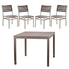 "COMBO KIT - (4) Side Chairs and 36""x36"" Table with Silver Frame and Barnboard Gray Slats"