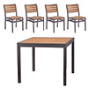 "COMBO KIT - (4) Side Chairs and 36""x36"" Table with Taupe Frame and Faux Teak Slats"