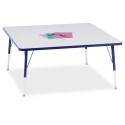 "Jonti-Craft 6418JCA003 Berries Square Activity Table - 48"" X 48"", A-height - Gray/Blue/Blue"