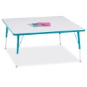 "Jonti-Craft 6418JCA005 Berries Square Activity Table - 48"" X 48"", A-height - Gray/Teal/Teal"