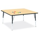 "Jonti-Craft 6418JCA011 Berries Square Activity Table - 48"" X 48"", A-height - Maple/Black/Black"