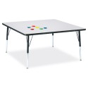 "Jonti-Craft 6418JCA180 Berries Square Activity Table - 48"" X 48"", A-height - Gray/Black/Black"