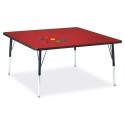 "Jonti-Craft 6418JCA188 Berries Square Activity Table - 48"" X 48"", A-height - Red/Black/Black"