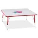 "Jonti-Craft 6418JCE008 Berries Square Activity Table - 48"" X 48"", E-height - Gray/Red/Red"