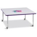 "Jonti-Craft 6418JCM004 Berries Square Activity Table - 48"" X 48"", Mobile - Gray/Purple/Gray"