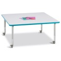 "Jonti-Craft 6418JCM005 Berries Square Activity Table - 48"" X 48"", Mobile - Gray/Teal/Gray"