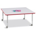 "Jonti-Craft 6418JCM008 Berries Square Activity Table - 48"" X 48"", Mobile - Gray/Red/Gray"
