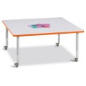 "Jonti-Craft 6418JCM114 Berries Square Activity Table - 48"" X 48"", Mobile - Gray/Orange/Gray"