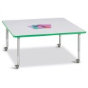 "Jonti-Craft 6418JCM119 Berries Square Activity Table - 48"" X 48"", Mobile - Gray/Green/Gray"