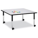 "Jonti-Craft 6418JCM180 Berries Square Activity Table - 48"" X 48"", Mobile - Gray/Black/Black"