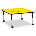 "Jonti-Craft 6418JCM187 Berries Square Activity Table - 48"" X 48"", Mobile - Yellow/Black/Black"