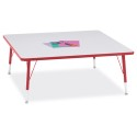 "Jonti-Craft 6418JCT008 Berries Square Activity Table - 48"" X 48"", T-height - Gray/Red/Red"
