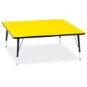 "Jonti-Craft 6418JCT187 Berries Square Activity Table - 48"" X 48"", T-height - Yellow/Black/Black"
