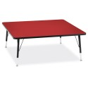 "Jonti-Craft 6418JCT188 Berries Square Activity Table - 48"" X 48"", T-height - Red/Black/Black"