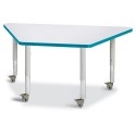 """Jonti-Craft 6438JCM005 Berries Trapezoid Activity Tables - 24"""" X 48"""", Mobile - Gray/Teal/Gray"""