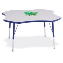 """Jonti-Craft 6453JCA003 Berries Four Leaf Activity Table - 48"""", A-height - Gray/Blue/Blue"""