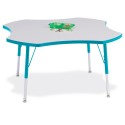 """Jonti-Craft 6453JCA005 Berries Four Leaf Activity Table - 48"""", A-height - Gray/Teal/Teal"""