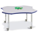 "Jonti-Craft 6453JCM003 Berries Four Leaf Activity Table - 48"", Mobile - Gray/Blue/Gray"