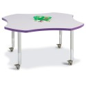 "Jonti-Craft 6453JCM004 Berries Four Leaf Activity Table - 48"", Mobile - Gray/Purple/Gray"