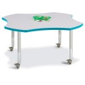 "Jonti-Craft 6453JCM005 Berries Four Leaf Activity Table - 48"", Mobile - Gray/Teal/Gray"