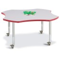 "Jonti-Craft 6453JCM008 Berries Four Leaf Activity Table - 48"", Mobile - Gray/Red/Gray"