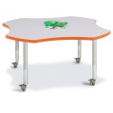 "Jonti-Craft 6453JCM114 Berries Four Leaf Activity Table - 48"", Mobile - Gray/Orange/Gray"