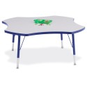 "Jonti-Craft 6453JCT003 Berries Four Leaf Activity Table - 48"", T-height - Gray/Blue/Blue"