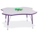 "Jonti-Craft 6453JCT004 Berries Four Leaf Activity Table - 48"", T-height - Gray/Purple/Purple"
