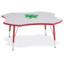 "Jonti-Craft 6453JCT008 Berries Four Leaf Activity Table - 48"", T-height - Gray/Red/Red"