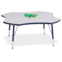 "Jonti-Craft 6453JCT112 Berries Four Leaf Activity Table - 48"", T-height - Gray/Navy/Navy"