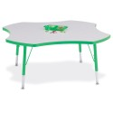 "Jonti-Craft 6453JCT119 Berries Four Leaf Activity Table - 48"", T-height - Gray/Green/Green"
