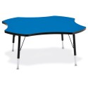 "Jonti-Craft 6453JCT183 Berries Four Leaf Activity Table - 48"", T-height - Blue/Black/Black"