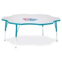 """Jonti-Craft 6458JCA005 Berries Six Leaf Activity Table - 60"""", A-height - Gray/Teal/Teal"""