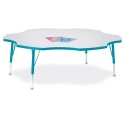 "Jonti-Craft 6458JCT005 Berries Six Leaf Activity Table - 60"", T-height - Gray/Teal/Teal"