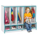 Jonti-Craft 6684JCWW005 Rainbow Accents Toddler 5 Section Coat Locker with Step - without Trays - Teal