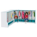 Jonti-Craft 6683JCWW003 Rainbow Accents Toddler Corner Coat Locker with Step - with Trays - Blue