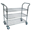"Wire Utility Cart - 36""W, 3 Chrome Plated Shelves"