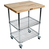 """Mobile Wire Cart - 27""""W, Hard Maple Top, 2 Chrome Plated Wire Shelves"""