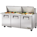 True TSSU-72-30MB-ST Mega-Top Sandwich Prep Table - Front Breathing 3 Doors, (30) Sixth-Size Pans, 20 Cu. Ft.