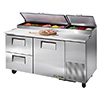 """True TPP-67-D2 Pizza Prep Table for 9 Pans - Two Drawer - One Door, 67""""W"""
