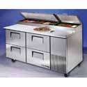 """True TPP67D4 Refrigerated Pizza Prep Table for 9 Pans - Four Drawer, 67""""W"""