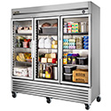 True T-72G-LD Reach-in Refrigerator with Three Glass Doors, 72 Cu. Ft.