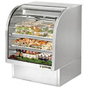 True TCGG-36-S Stainless Steel Deli Case with Curved Glass - Two Door, 17 Cu. Ft.